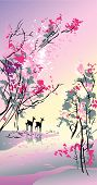 Four seasons: spring hand-drawing picture in Chinese traditional painting style vector illustration poster