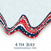 4th of July Happy Independence Day wave background. poster