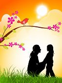 Silhouette of a mother and her daughter on evening background for Happy Mothers Day. poster