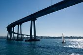 "The San Diego-Coronado Bridge locally referred to as the Coronado Bridge is a ""prestressed concrete/steel"" girder bridge crossing over San Diego Bay in the United States linking San Diego California with Coronado California. poster"