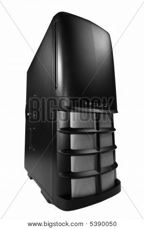Black computer box isolated on white background poster