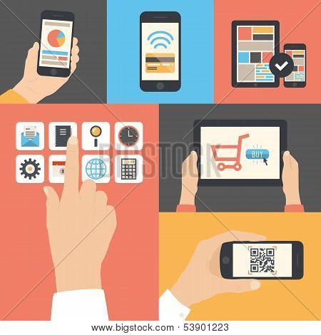 Mobile und Tablet-Business-Kommunikation-Nutzung