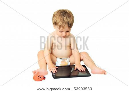 Little Kid On The Tablet.