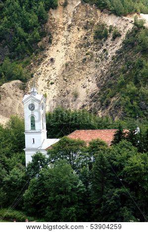 Rosia Montana. Unitarian church in danger near the gold mine
