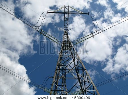 The industrial landscape high-voltage line on the background of the sky poster
