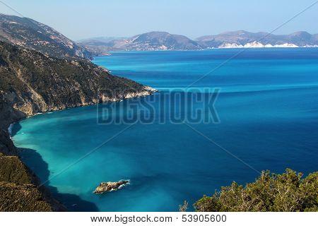 Shores Of Island Kefalonia In The Ionian Sea, Greece