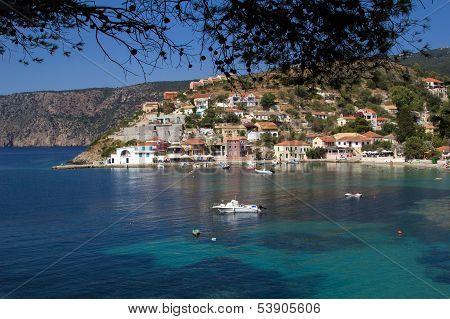 Traditional Fishing Village Of Assos At Kefalonia
