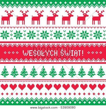 Wesolych Swiat card - scandynavian christmas pattern