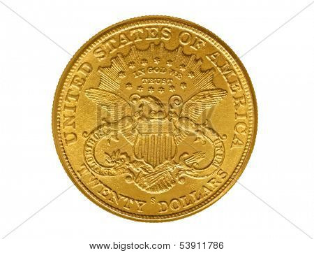 Twenty dollars gold coin from nineteenth century named Liberty. Isolated with path on white.