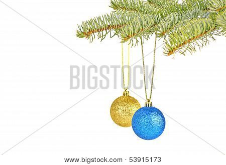 Christmas Decoration With Red And Yellow Balls On White Background. Selective Focus