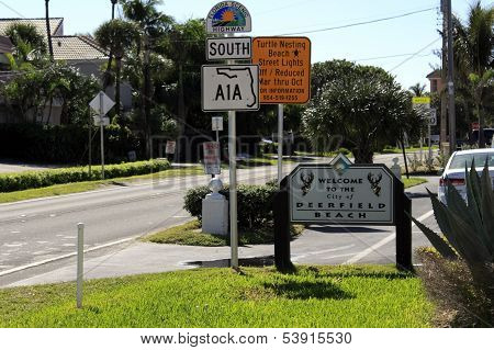 Welcome To Deerfield Beach Sign