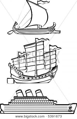 Three Nautical Ships