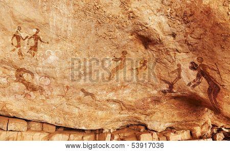 Famous prehistoric rock paintings of Tassili N'jjer, Algeria