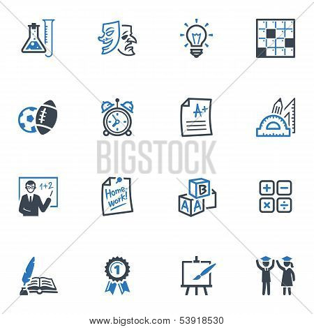 School and Education Icons Set 4 - Blue Series