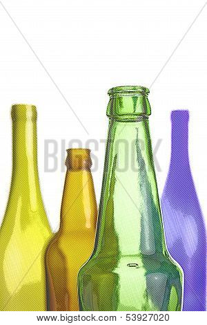 Empty Wine And Beer Bottles Isolated On White