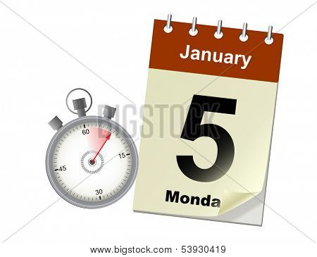 Vector illustration of timing concept with stoper and calendar
