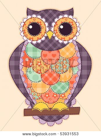 Colored patchwork owl. Vector quilt illustration. This is file of EPS8 format. poster