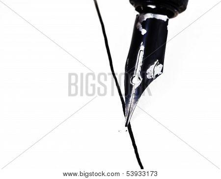 Metal Nib Of Drawing Pen Drafting Straight Line