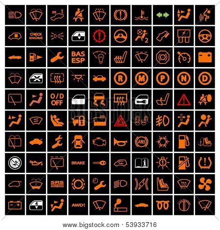 Car Dashboard Icons.