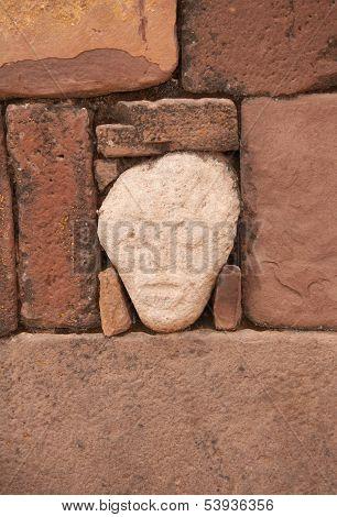 Mysterious Head in Semi-Underground Temple - Semisubterraneo, Tiwanaku