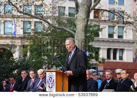 US Senator Charles Schumer at podium