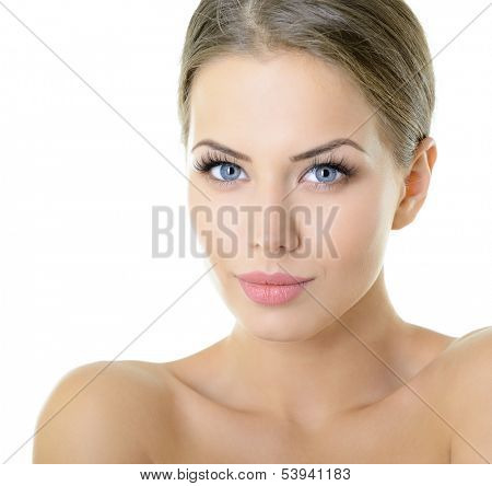 Beauty portrait of young woman with beautiful healthy face with nice day makeup looking at camera, studio shot of attractive girl over on white background