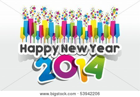 Colorful Abstract Happy New Year 2014 Card