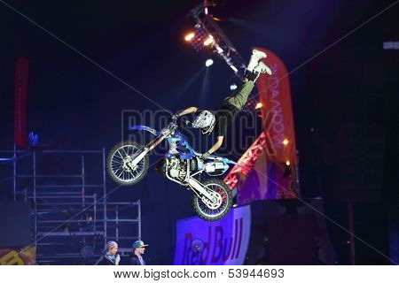 MOSCOW - MAR 02: Jump rider with acrobatic stunts on the festival extreme sports Breakthrough 2013 in the arena of the Sports Complex, on March 02, 2013 in Moscow, Russia.