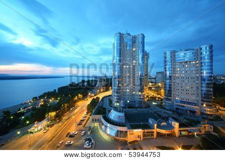 SAMARA, RUSSIA - JULY 7: Night view of the apartment complex Ladya, July 7, Samara. The complex is located in the heart of the city of Samara on the Volga river