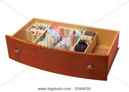Drawer With Sorted Socks, Underwear, Bra. Organized
