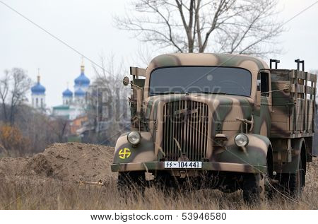 Kiev, Ukraine - November 3: German truck is displayed on the Field of Battle military history festival on November 3 , 2013 in Kiev, Ukraine