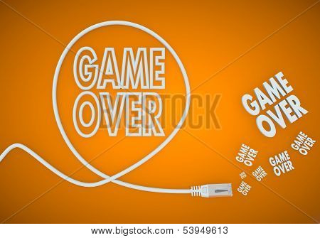 3D Graphic Of A Connected Game Over Symbol Formed By An Cable