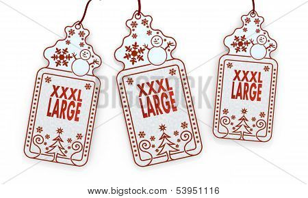 Isolated Christmas Labels With Xl Sign