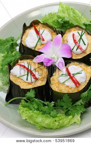 hor mok, thai food, steamed fish curry custard in banana leaf poster
