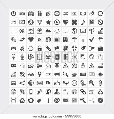 121 Social media and network icons. Vector illustration. poster