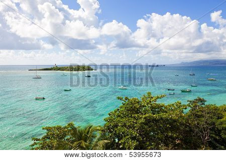 Guadeloupe, Lesser Antilles: view from Le Gosier over Dupuy Bay to the Ã?Â??let du Gosier