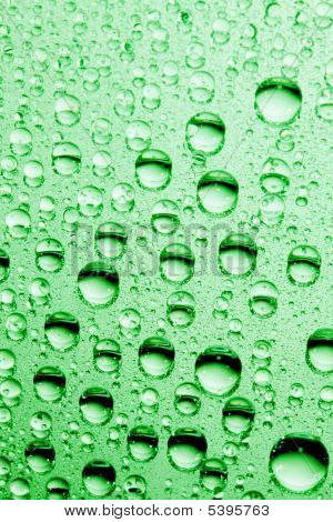 macro of green water drops
