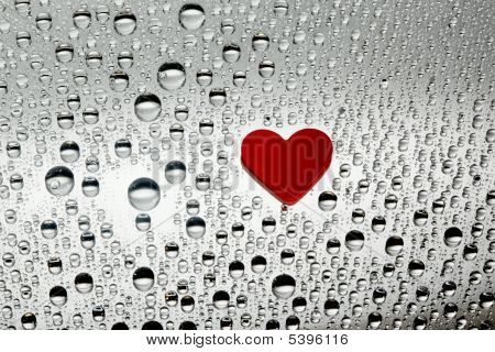 heart around water drops