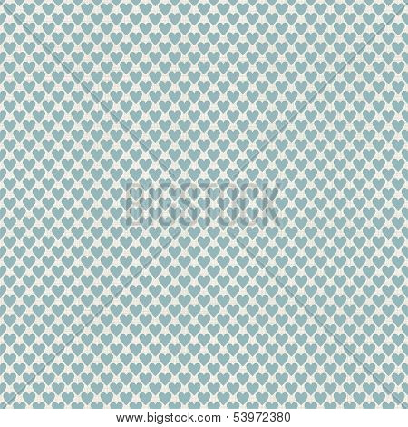 Seamless Hearts Polka Dot Pattern With Retro Texture