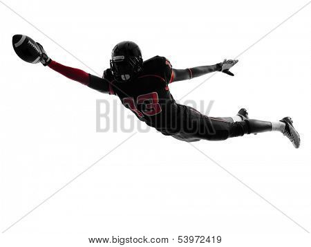 one  american football player scoring touchdown in silhouette shadow on white background poster