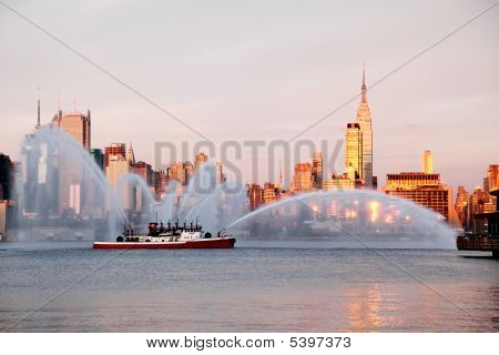 Fireboat Waterjets Prior To Macy's 4Th Of July Fireworks