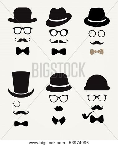 Hipster Retro Vintage Vector Icon Set, Illustration poster