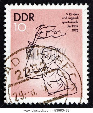 Postage Stamp Gdr 1975 Torch Bearer
