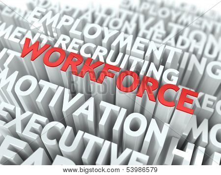 Workforce. Wordcloud Concept.