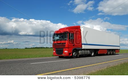 Red Lorry With White Trailer