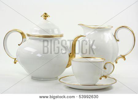 white tea service on white