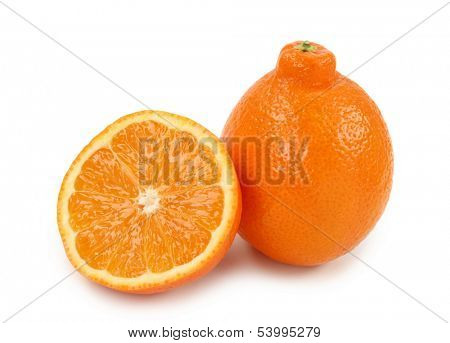 Mineola, a cross between a grapefruit and a tangerine on white background
