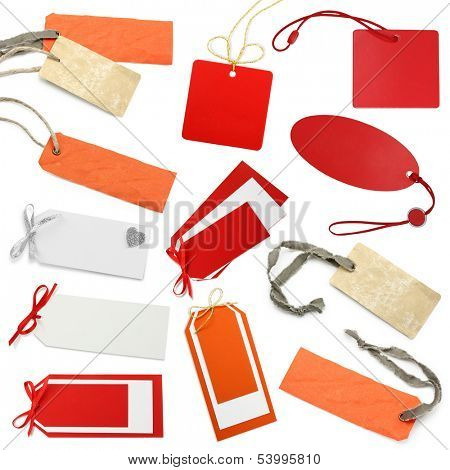 Tags  collection isolated on white background