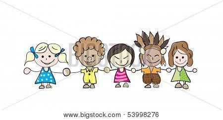 Happy kids holding hands