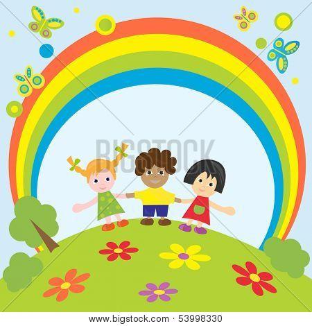 Happy children.Vector illustration.